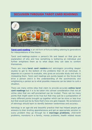 Seclusion through Tarot Card Readings