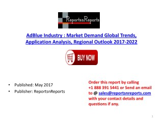 AdBlue   Market Global Industry Trends, Share, Size and 2022 Future Report