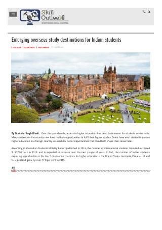 Emerging overseas study destinations for Indian students by Gurinder Bhatti