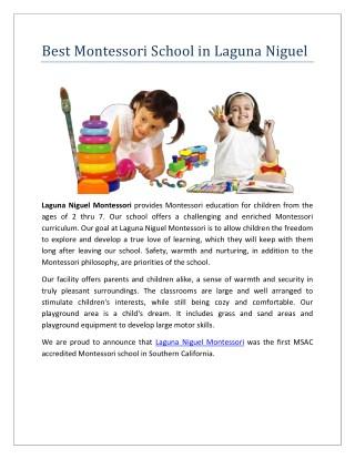 Best Montessori School in Laguna Niguel California
