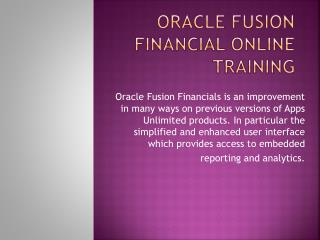 Learn Oracle Fusion Financial Online Training