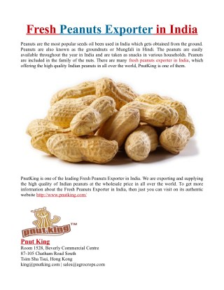 Fresh Peanuts Exporter in India