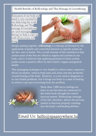 Health Benefits of Reflexology and Thai Massage in Luxembourg