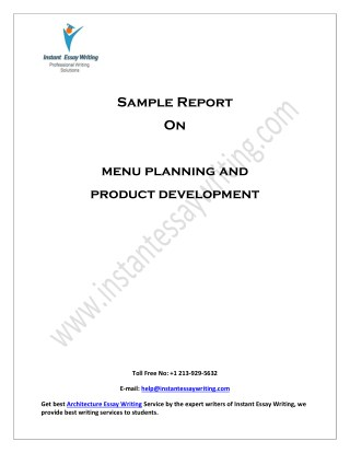 Sample on Menu planning and product development By Instant Essay Writing