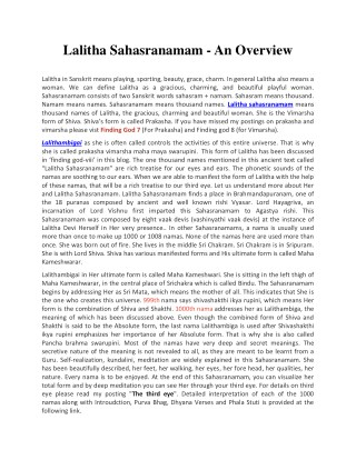 Sri Lalitha Sahasranamam Overview