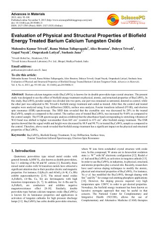 Evaluation of Physical and Structural Properties of Biofield Energy Treated Barium Calcium Tungsten Oxide