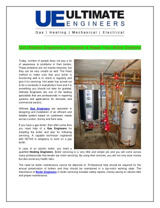 Call Ultimate Engineers to Upgrade & Repair Your Boiler Systems