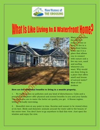 What Is Like Living In A Waterfront Home?