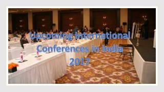 Upcoming International Conferences in India 2017