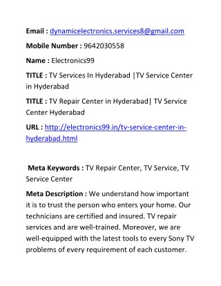 TV Services In Hyderabad |TV Service Center in Hyderabad