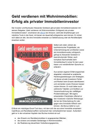 Geld verdienen mit Wohnimmobilien - Erfolg als privater Immobilieninvestor