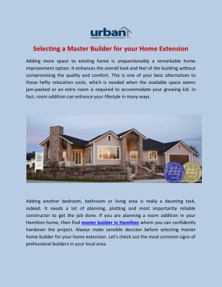 Selecting a Master Builder for your Home Extension