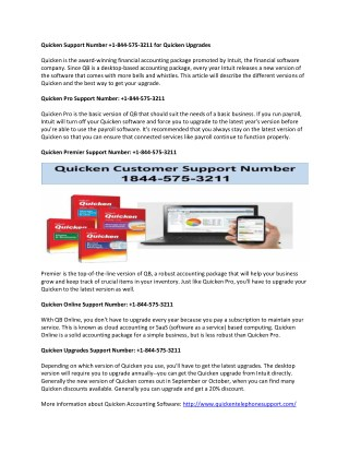 Quicken Support Phone Number  1-844-575-3211 for Quicken Error
