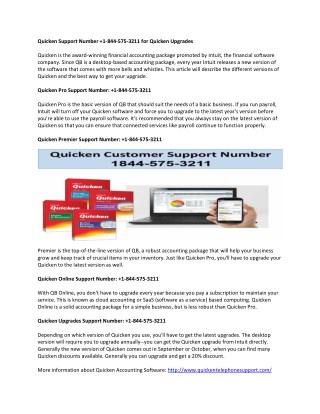 Quicken Support Phone Number  1-844-575-3211 for Quicken Error