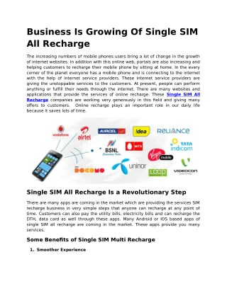 Business growing single sim recharge