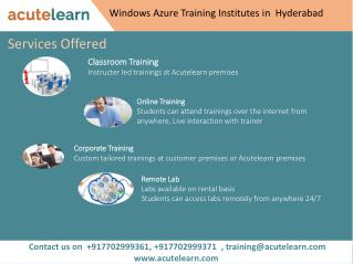Windows Azure Training Institutes in Hyderabad