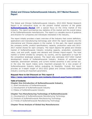Global Sulfamethoxazole Industry Forecast Study 2012-2022