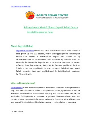 Schizophrenia mental illness|Jagruti Rehab|Mental hospital in Pune
