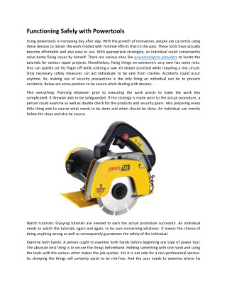 Functioning Safely with Powertools