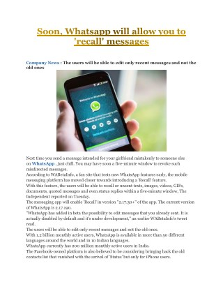 Soon, Whatsapp will allow you to 'recall' messages | Business Standard News