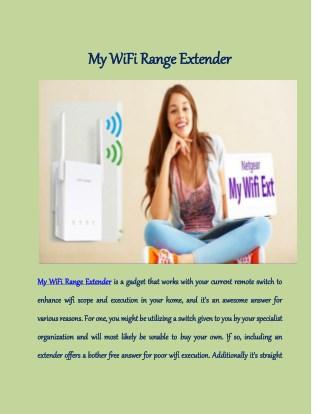 My WiFi Range Extender
