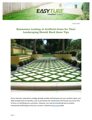 Businesses Looking at Artificial Grass for Their Landscaping Should Heed these Tips