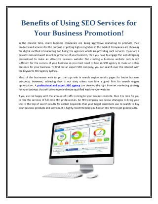 Benefits of Using SEO Services for Your Business Promotion!