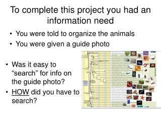 To complete this project you had an information need