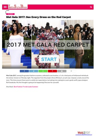 Met Gala 2017 Red Carpet Fashion