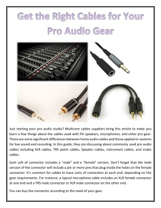 Get the Right Cables for Your Pro Audio Gear