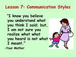 Lesson 7: Communication Styles