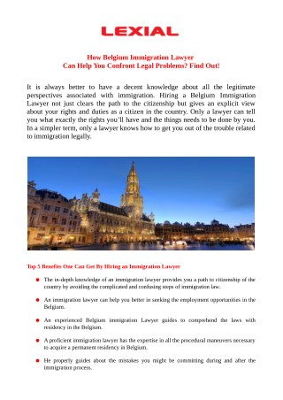 How Belgium Immigration Lawyer Can Help You Confront Legal Problems? Find Out!
