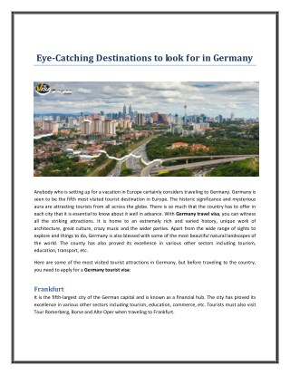 Eye-Catching Destinations to look for in Germany
