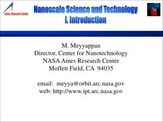 Nanoscale Science and Technology I. Introduction