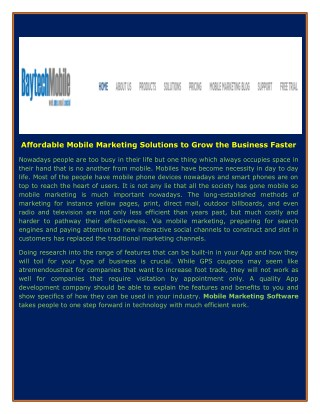 Affordable Mobile Marketing Solutions to Grow the Business Faster