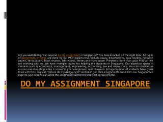 Online Do my assignment Singapore
