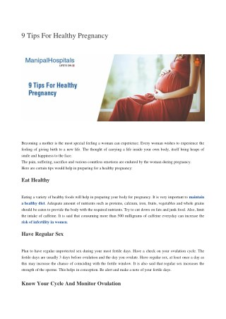Tips for Healthy Pregnancy
