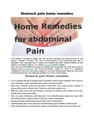 STOMACH PAIN HOME REMEDIES FOR INSTANT RELIEF !