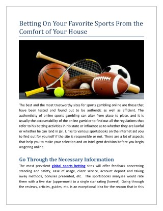 Betting On Your Favorite Sports From the Comfort of Your House