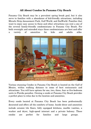 Condos In Panama City Beach Fl With Luxurious Amenities