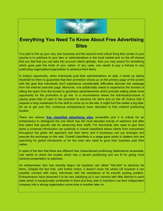 Everything You Need To Know About Free Advertising Sites