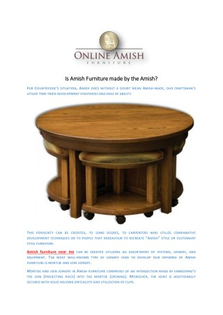 Is Amish Furniture made by the Amish?