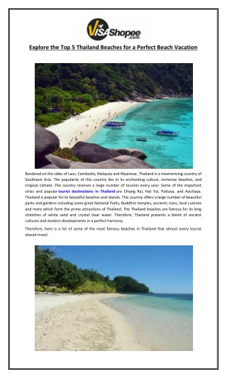 Explore the Top 5 Thailand Beaches for a Perfect Beach Vacation