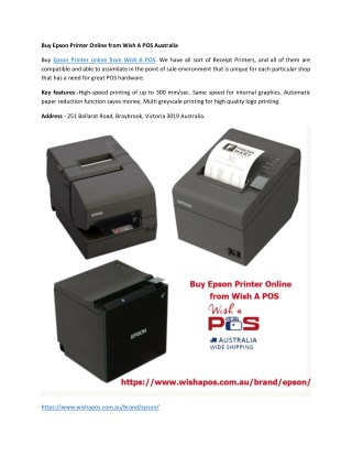 Buy Epson Printer Online from Wish A POS Australia