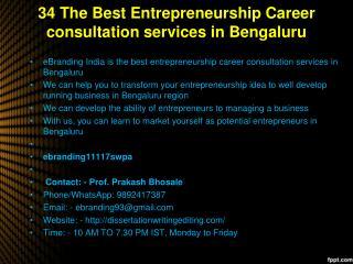 34 The Best Entrepreneurship Career consultation services in Bengaluru