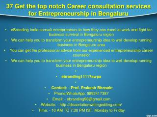 37 Get the top notch Career consultation services for Entrepreneurship in Bengaluru