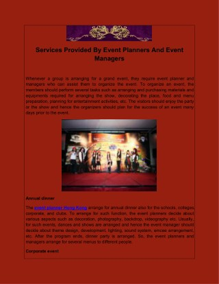 Services Provided By Event Planners And Event Managers