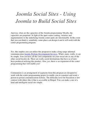 Joomla Social Sites - Using Joomla to Build Social Sites
