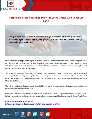 Adipic acid sales, market 2017 industry trend and forecast 2026