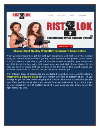 Choose Right Quality Weightlifting Support Brace Online
